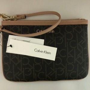 Calvin Klein Monogram Dark Brown Wristlet
